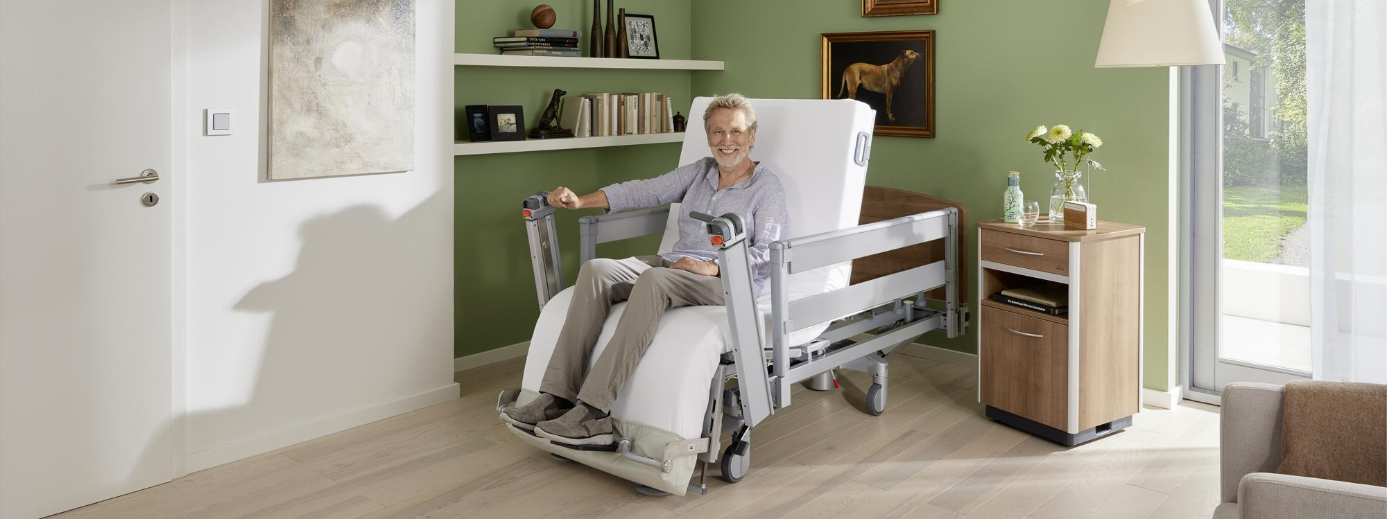 Health-promoting sitting position of the Vertica care mobilisation bed
