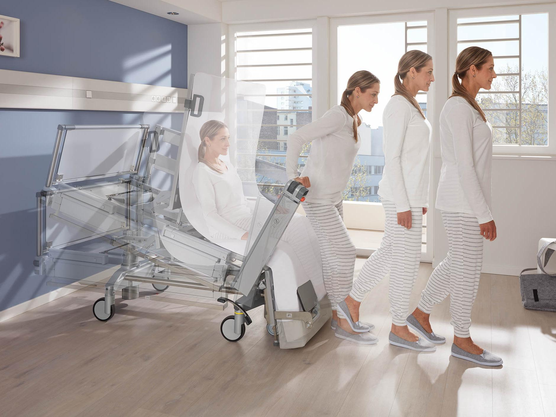 The Vertica clinic mobilisation bed promotes ergonomic movement