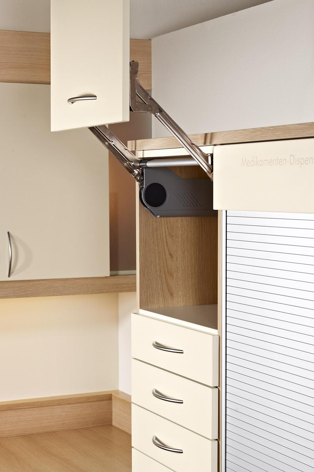 Space-saving cupboard doors for contract furniture