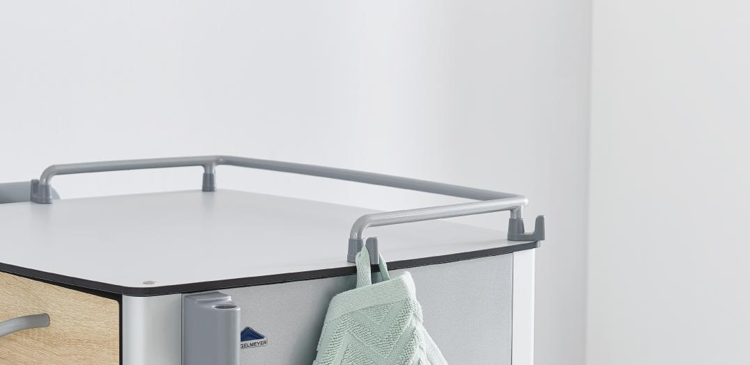 Towel hook on the Vitano bedside cabinet rail