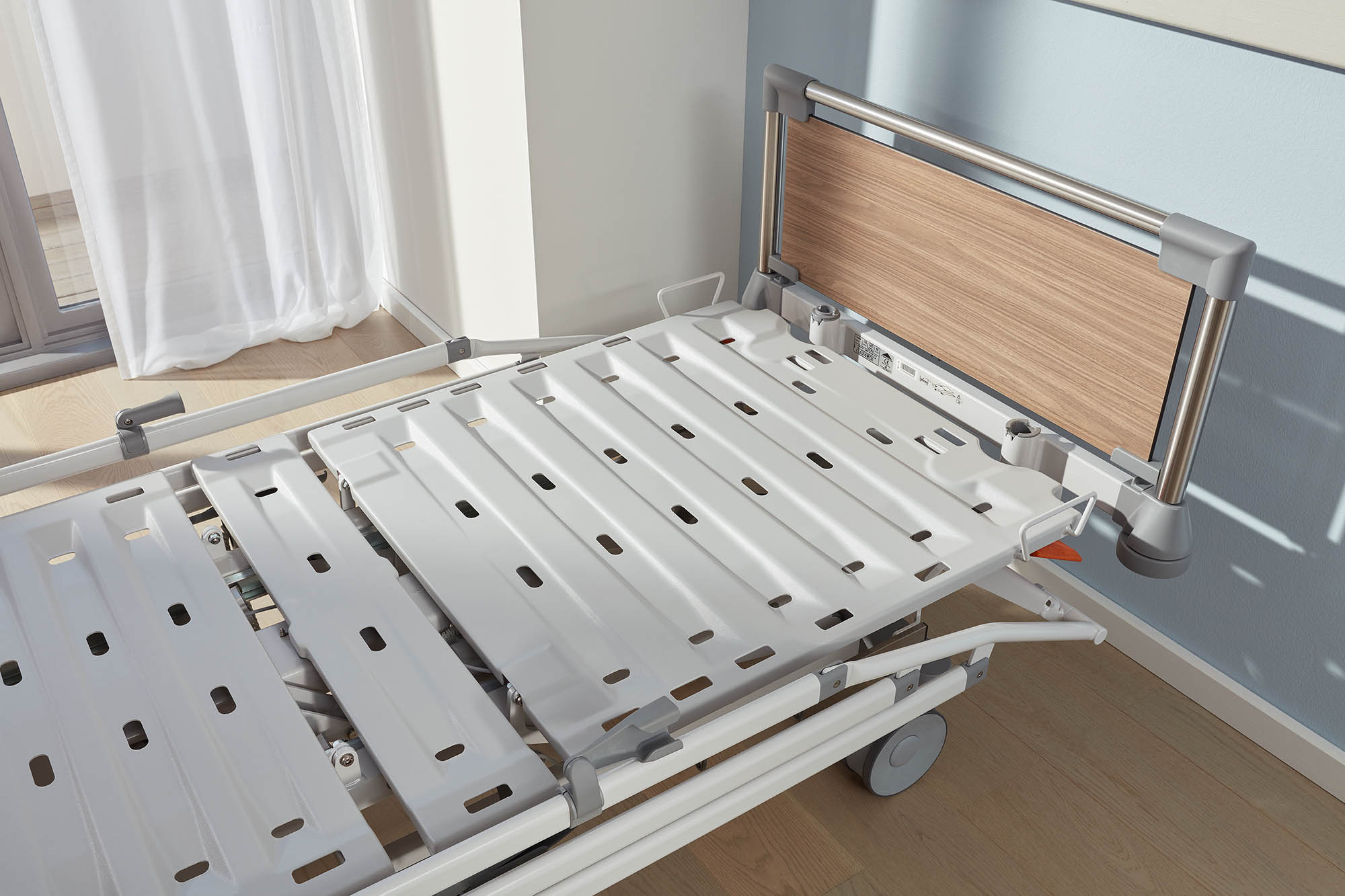 Hygiene mattress base of the Evario hospital bed