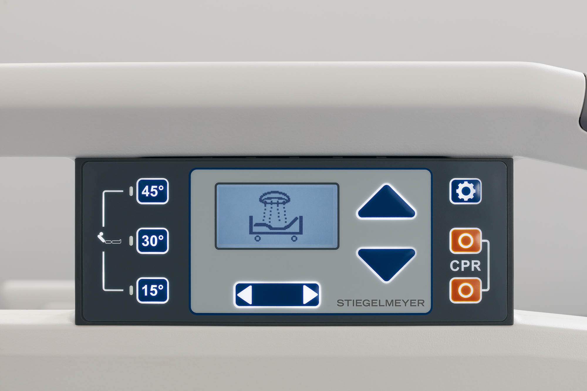 Control panel with pre-settings on the Evario hospital bed