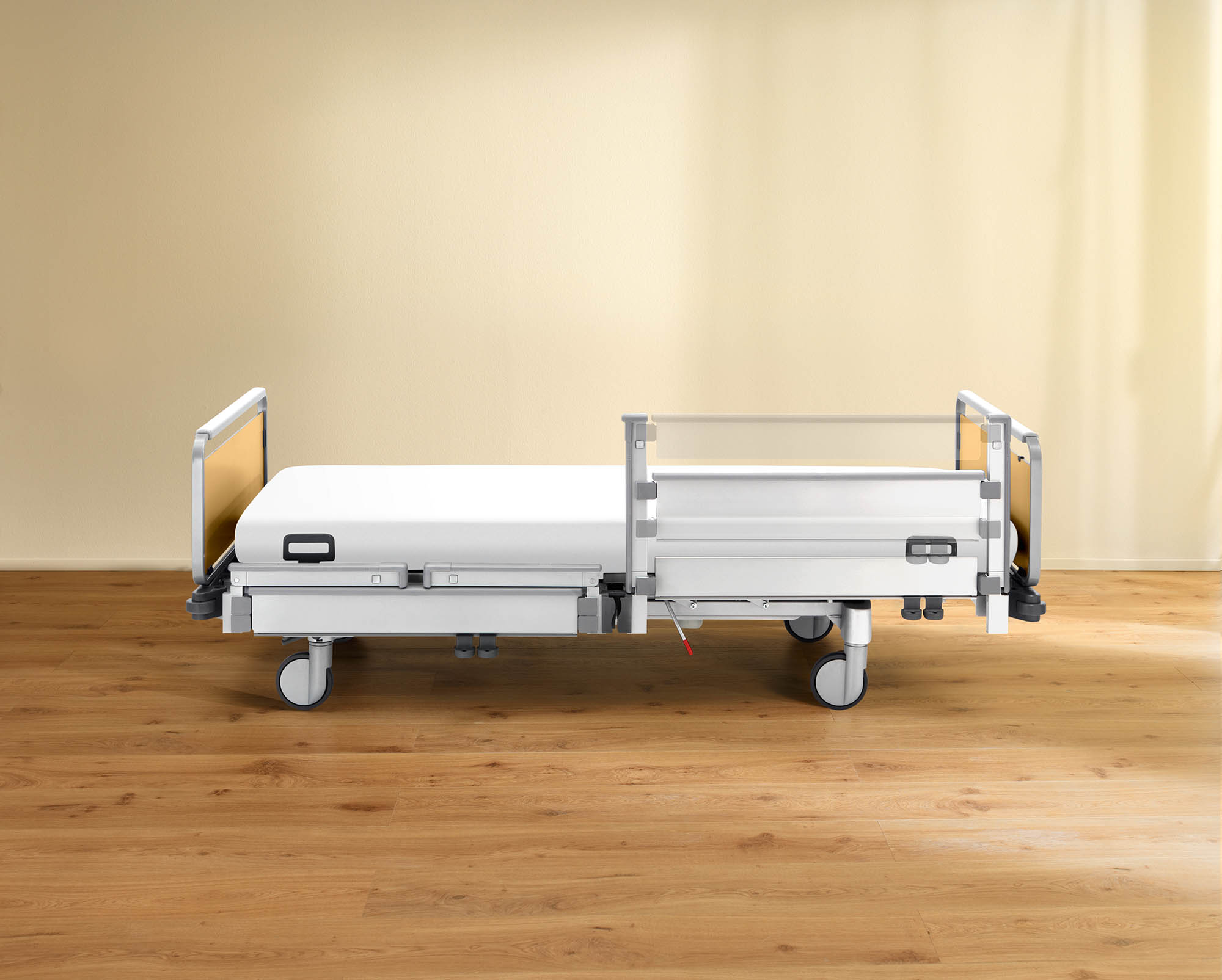 MultiFlex safety side raised at the head end on the Vida hospital bed